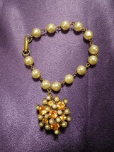 Faux Pearl W/ Yellow Rhinestone Gold Tone Bracelet - $24.75