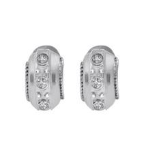 0.30 Carat Round Brilliant Cut Diamond Hoop Earrings 14K White Gold - $494.01