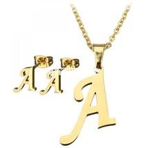 Women Gold Letter A-E Stainless Steel Jewelry Set Pendant Necklace Earri... - $15.10