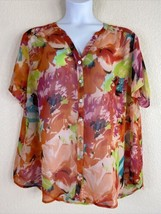Dressbarn Womens Plus Size 3X Sheer Colorful Floral Button Front Blouse ... - $19.80