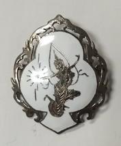 Vintage SIAM STERLING PIN BROOCH MEKKALA GODDESS OF LIGHTNING WHITE ENAM... - $18.42