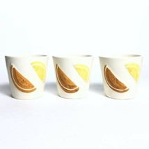 Vintage Los Angeles Pottery Juice Cup Set 1956 Set of 3 Orange & Lemon S... - $22.51