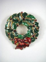 Monet Christmas Brooch Wreath 1 5/8 inch Goldtone X-mas Pin Metal Enamel... - $29.69