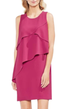 NWT Vince Camuto Women's Pink Asymmetrical Tiered Ruffled Shift Dress Size 2 - $36.79