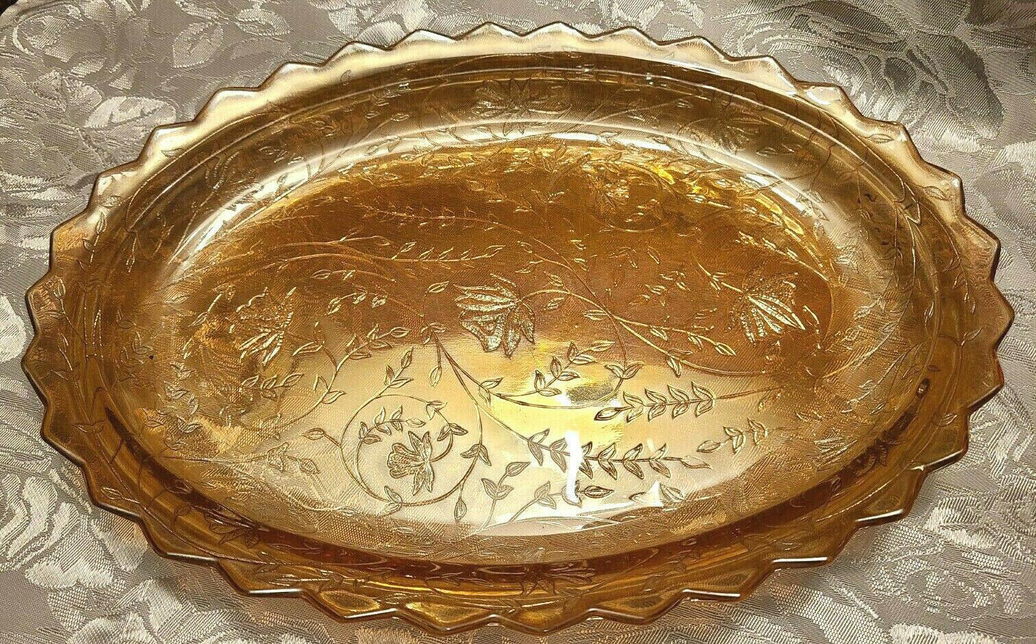 Vintage Carnival Glass Amber Marigold Iridescent Oval Dish Scalloped Rim
