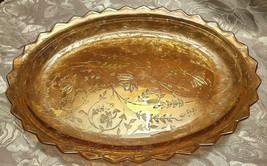 Vintage Carnival Glass Amber Marigold Iridescent Oval Dish Scalloped Rim image 1