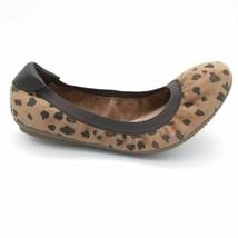 Lands End Womens Suede Elastic Trim Ballet Flats Brown Leopard Print  7B - $29.69