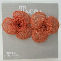Vintage 80's NOS Wicker Rattan Orange Flower Pierced Stud Earrings New Jewelry - $14.83