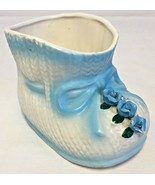 VINTAGE NAPCOWARE CERAMIC BABY White SHOE W/Blue Bow&Flower VASE/PLANTER... - $20.09