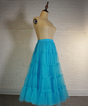 Blue Glitter Maxi Tulle Skirt Outfit Tiered Sparkle Tulle Skirt A-line Plus Size image 4