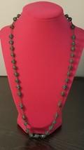 "Vintage 24"" Metal Link & Glass Beaded Necklace - $8.01"