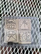 Stampin Up ~ 2004 Festive Four Wood Mount Rubber Stamps ~ 4 - $5.94