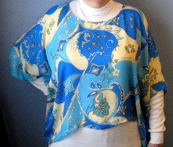 Retro Silk Poncho Top Aqua Black Blue Like Pucci 1970s Psychadelic Fashion Top - $48.00