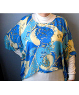 Retro Silk Poncho Top Aqua Black Blue Like Pucci 1970s Psychadelic Fashi... - $48.00