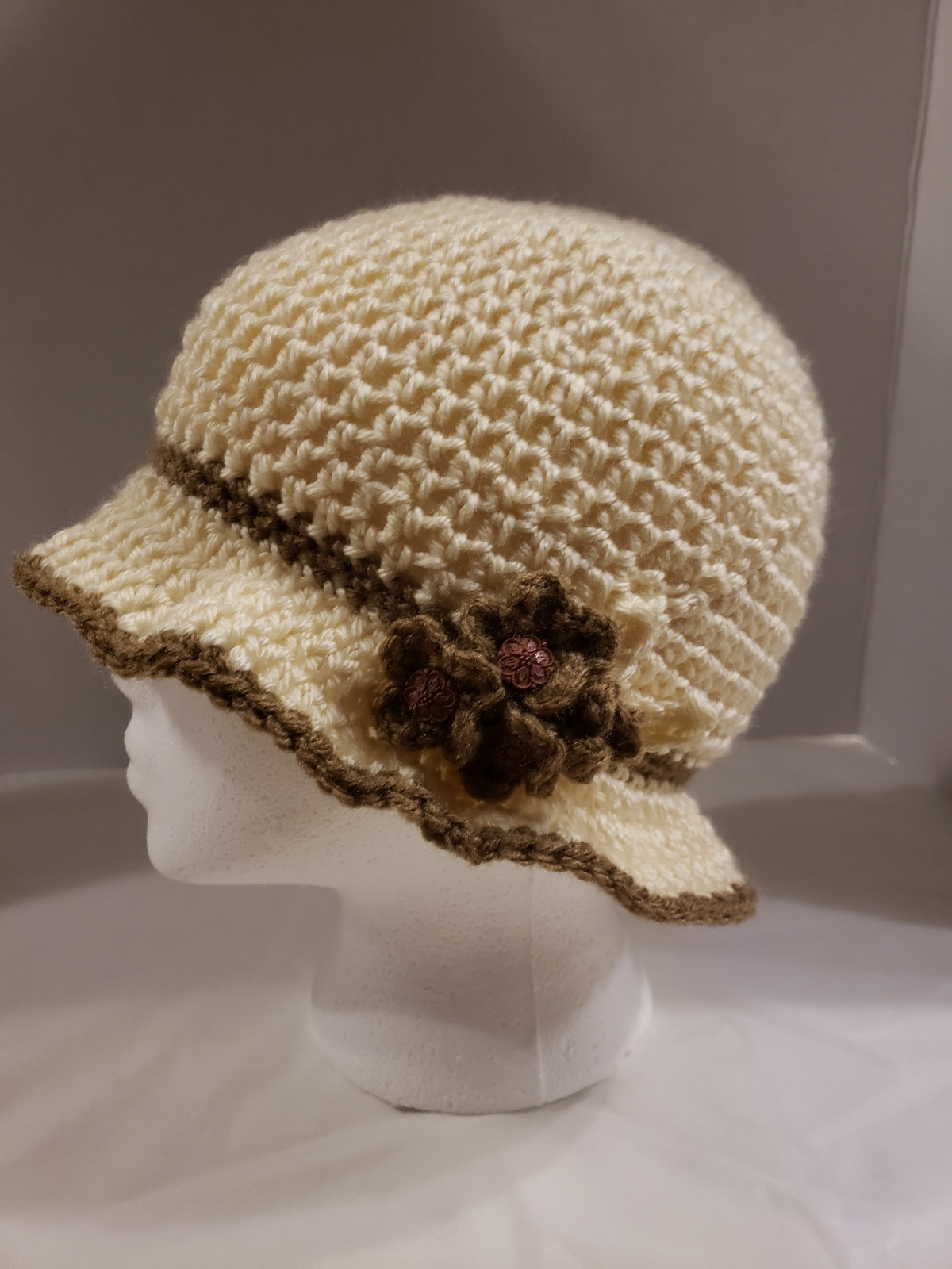 Handmade Crochet  Ladies' Cloche style Hat