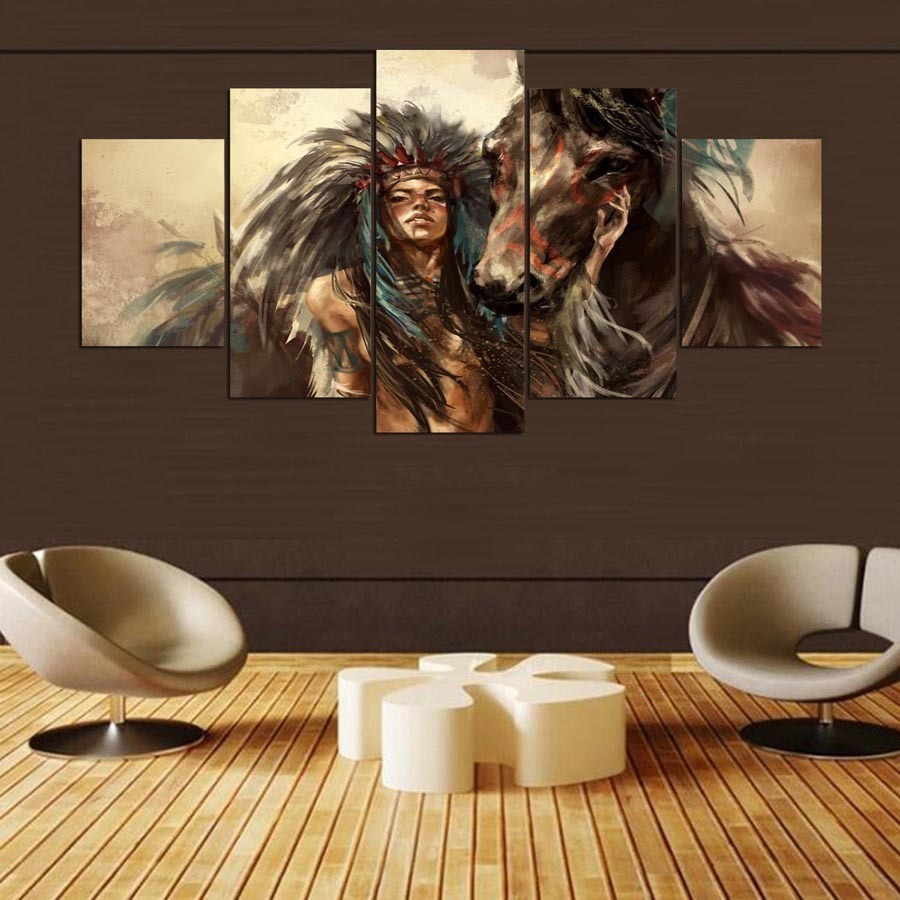 5 Pcs Native American Indian Girl Horse Canvas Wall Art Poster Print Home Decor for sale  USA