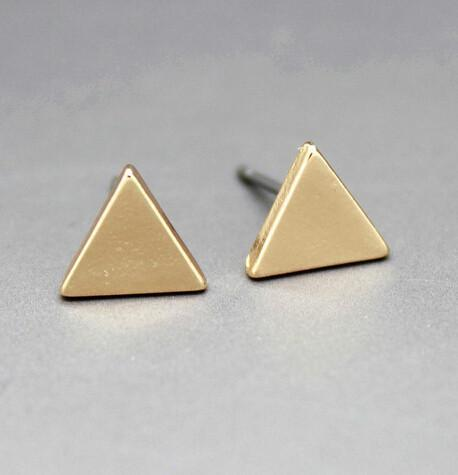 Custom Trendy Unique Style New Fashion Gold Plated Stud Triangle/Square/Round Ea