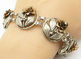 HOBE 925 Silver - Vintage Two Tone Sculpted Flower Link Chain Bracelet -... - $139.69
