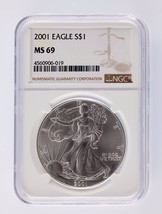 2001 Silver 1oz American Eagle $1 NGC Graded MS 69 - $54.44