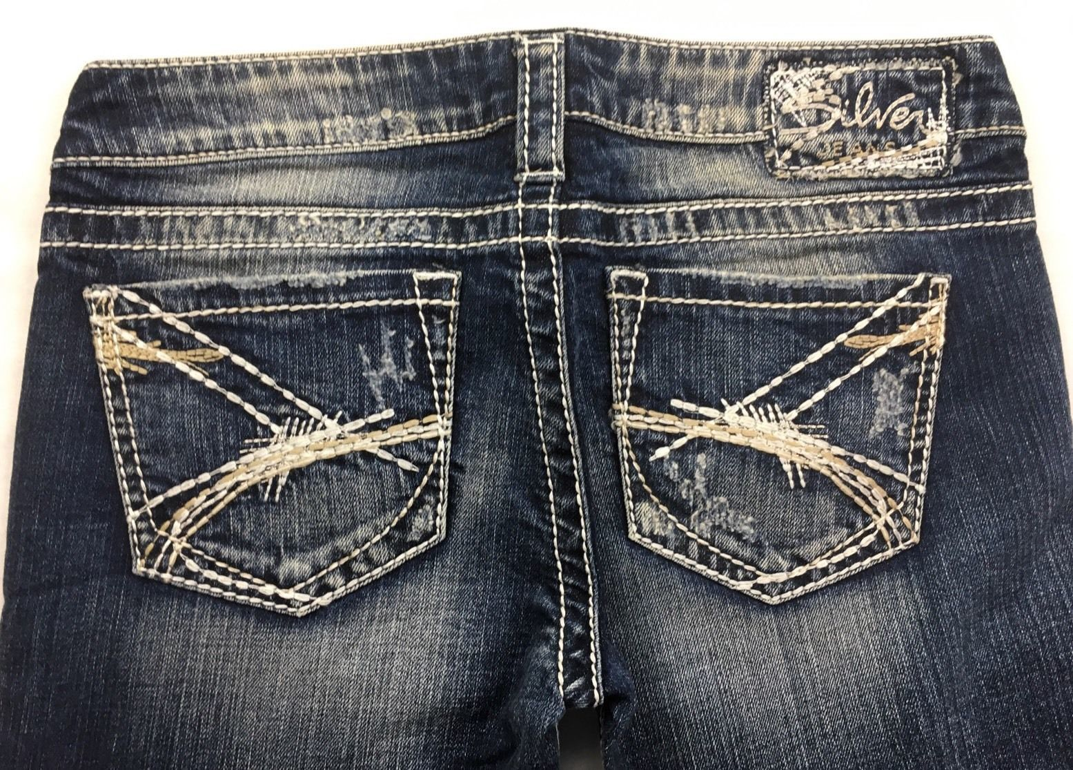 New SILVER Jeans Buckle Distressed Tuesday Denim Stretch Jean Mid Shorts 28 & 32