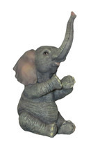 "Baby Elephant Figurine Sitting Applauding New Wild Animals 3.5"" High Trunk - $21.77"