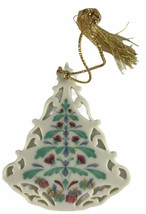 """Lenox Christmas Tree Ornament Green Leaves & Red Flowers Approximatly 3""""... - $18.81"""