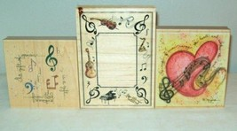 Lot of 3 Music Wood Mounted Rubber Stamps Gift Magic Of D Morgan - $8.99