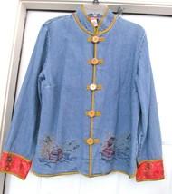 HEARTS OF PALM Oriental Wash Denim Jean Jacket Coat Brocade Trim Sz 10 - $24.95