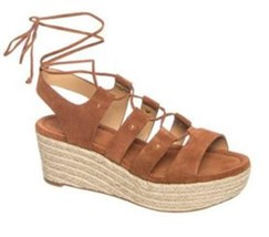 Women's Michael Kors SOFIA MID WEDGE Espadrille Platform Sandal Suede Luggage - $98.00