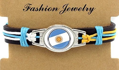 Argentina Soccer Adjustable Leather Wristband Jewelry Bracelet - Shipped from U.