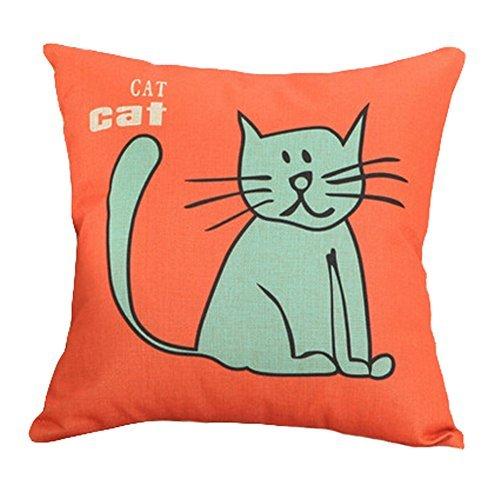 Decor Cotton Linen Decorative Throw Pillow Case Cushion Cover,Blue Cat