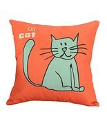 Decor Cotton Linen Decorative Throw Pillow Case Cushion Cover,Blue Cat - $10.06
