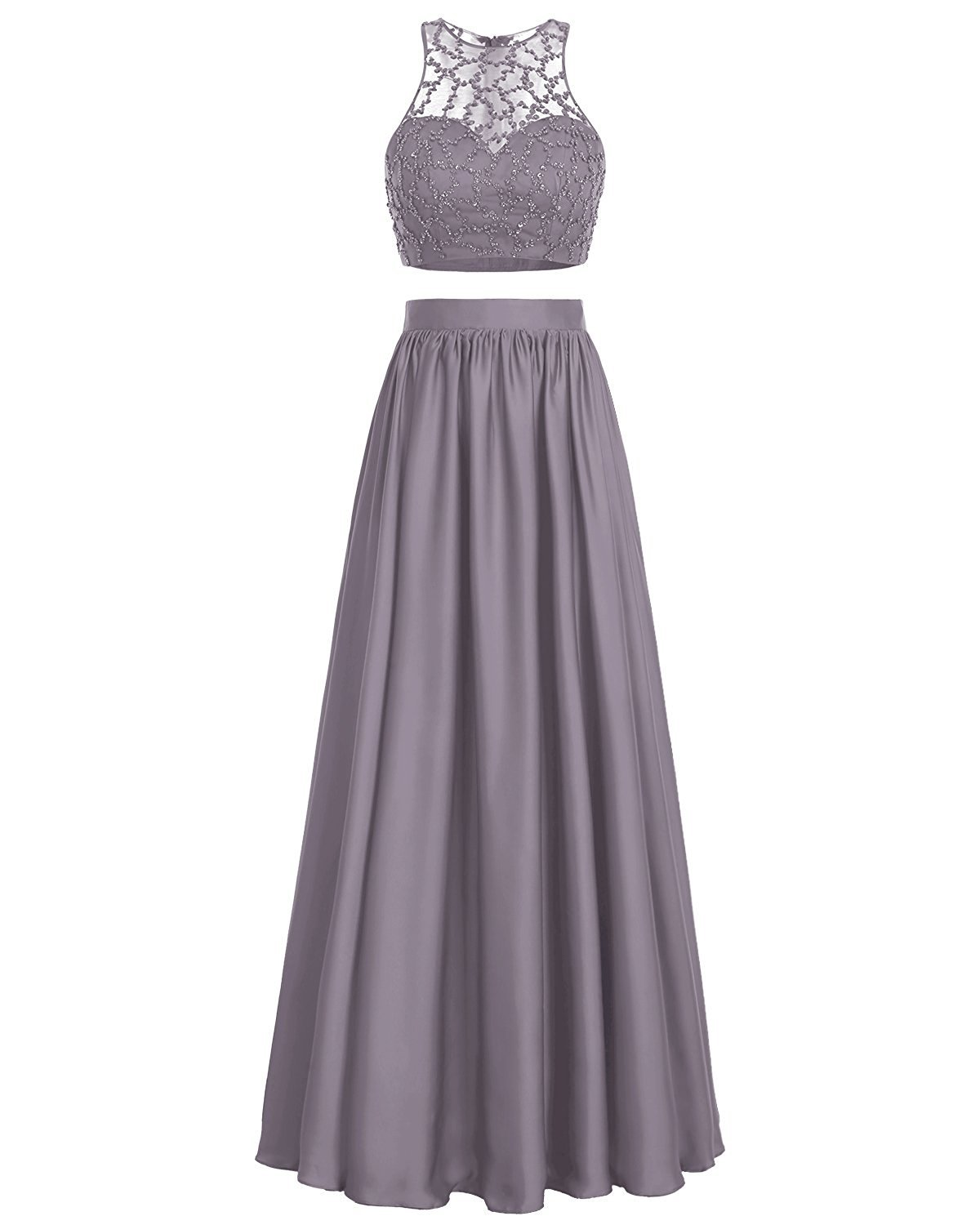 Primary image for Long Satin Two Piece Prom Dress Sequins Sleeveless Formal Evening Dress Grey