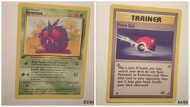 Pokemon Card Jungle Set Lot 1st Edition Venonat & Poke Ball 63/64 64/64 ... - $1.99