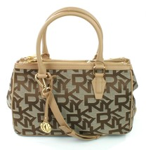 DKNY Donna Karan Heritage Chino Dune Beige Brown Canvas Shoulder Bag Han... - $223.49