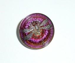 Pretty Pink & Purple Czech Glass Dragonfly Shank Button 23mm - Silver Dr... - $6.23