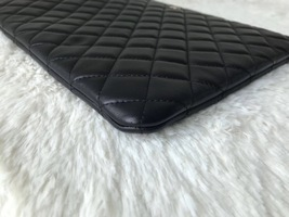 AUTHENTIC CHANEL Black Quilted Lambskin Large Clutch Bag GHW image 8