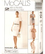 Misses 2-Hour One or Two Piece Dress Pattern Sizes 10-14 McCall's 8154 U... - $4.99