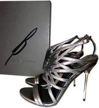 B Brian Atwood Marseille Gladiator Metal Heel  Sandals Pump Shoe 7.5- 37.5 - $206.00
