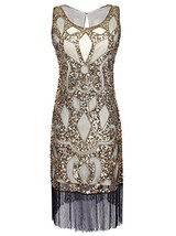 Vijiv Women's 1920s Art Deco Sequin Roaring 20s Great Gatsby Flapper Dress - $39.40