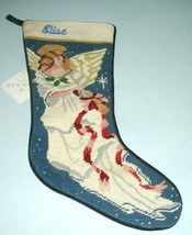 Sferra Needlepoint Christmas Stocking Embroidered ELISE Angel with Horn New - $39.90