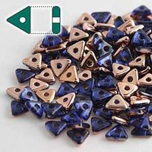Sapphire Capri Gold Czech Glass Sead Tri Beads 4.6mm Tryangle 1.3mm Thic... - $9.27