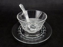 Fostoria Raleigh Crystal Clear Mayonnaise Bowl w/ Under Plate and Ladle... - $34.25