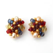 LIZ CLAIBORNE Multi Color Cluster Clip Earrings Elegant Vintage Earrings - $39.00