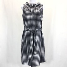 Talbots Audrey Collar Back Button Dress Womans 10 Sleeveless Belted Navy... - $46.39
