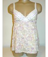 Victoria's Secret white lilac pink green paisley print cami eyelet trim-... - $12.16
