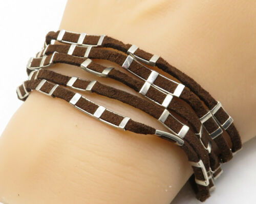 Primary image for WHITNEY KELLY 925 Silver - Vintage Suede Engraved Detail Chain Bracelet - B4202