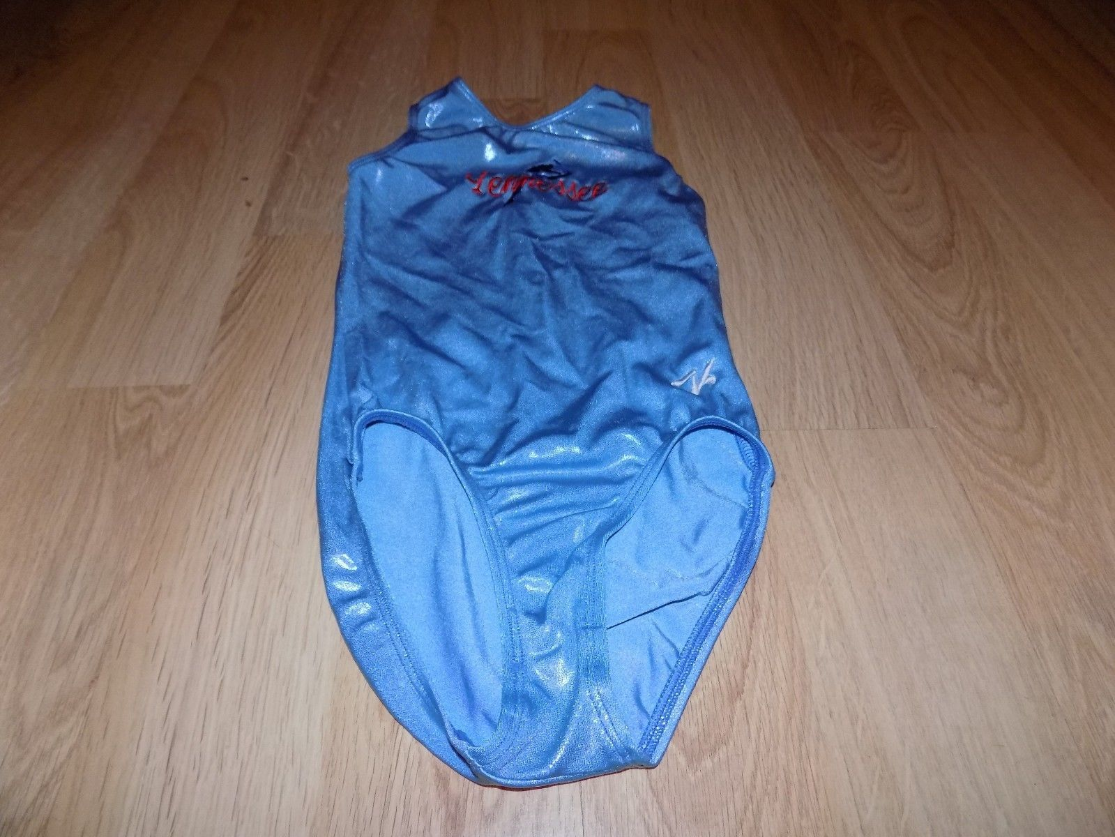 "Primary image for Size Medium ? 21"" GK Elite Light Blue Foil Gymnastics Leotard TENNESSEE Gymnast"