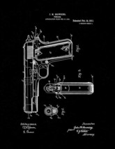 Colt 1911 Gun Patent Print - Black Matte - $7.95+