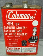 Vintage 1969 Mint Red Coleman 1-Gallon Metal Fuel Can Lantern Stove Heat... - $19.99